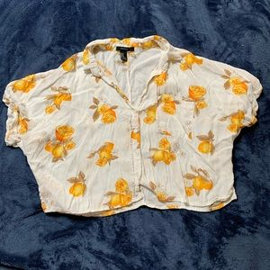 Forever 21 lemons button up crop top